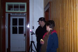 Ben Myckan and Lucy, the curator, at the back of the Rectory. The priest spirits LOVED Lucy.