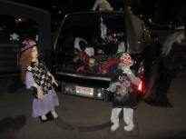 Creepy Cathy and Bloody Billy with Paranormal Rona's hearse Banshee