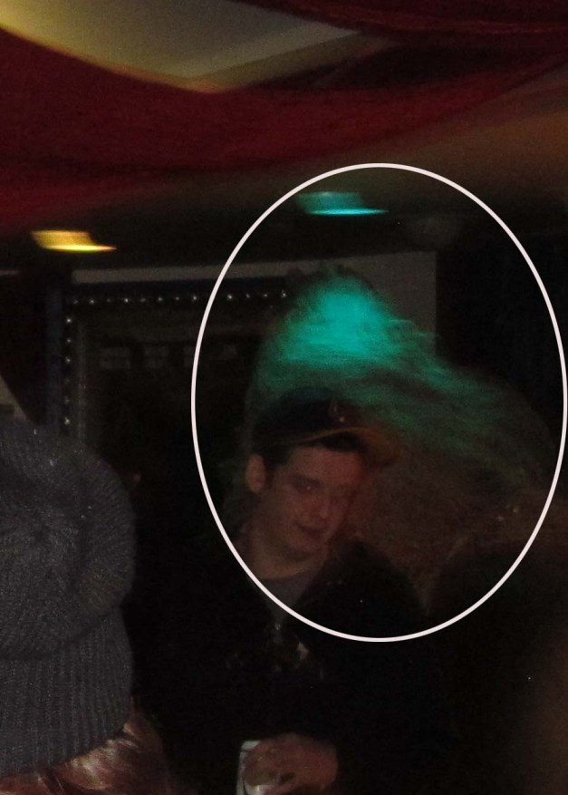 Enlargement of above photo -Turquoise theatre light hitting some kind of Ectoplasmic formation behind the young man's head! What do YOU think?